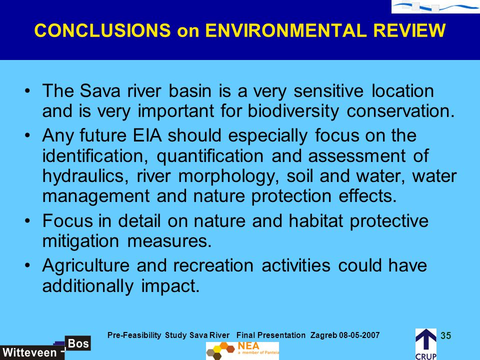 CONCLUSIONS on ENVIRONMENTAL REVIEW