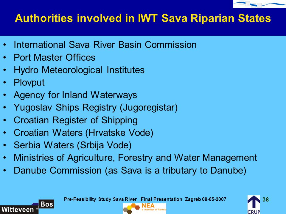 Authorities involved in IWT Sava Riparian States
