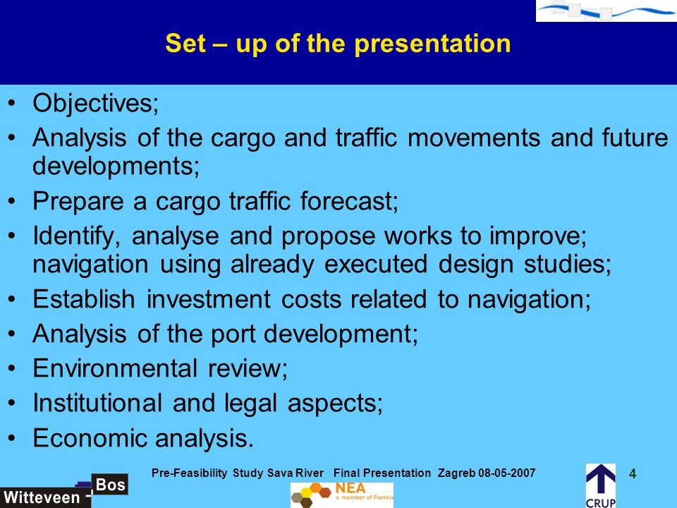 Set – up of the presentation