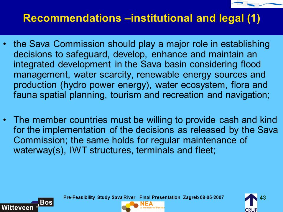 Recommendations –institutional and legal (1)