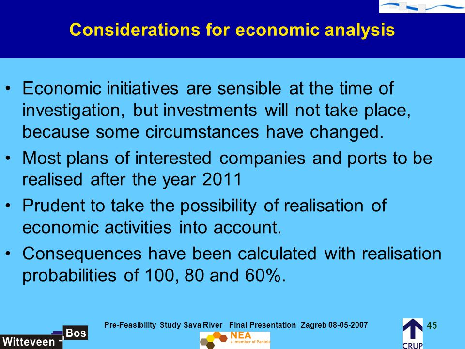 Considerations for economic analysis