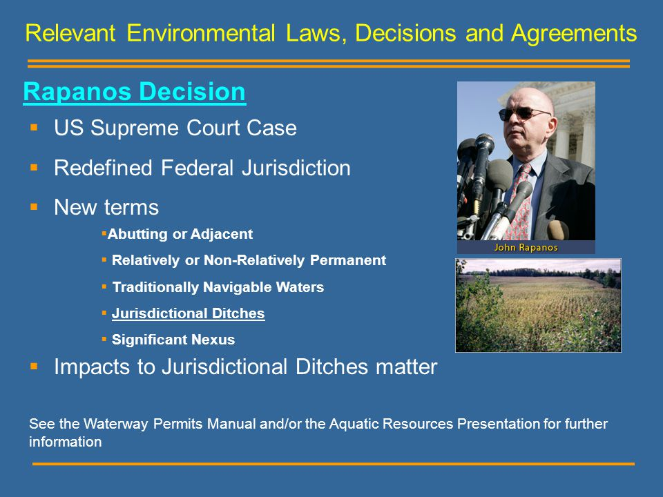 Relevant Environmental Laws, Decisions and Agreements