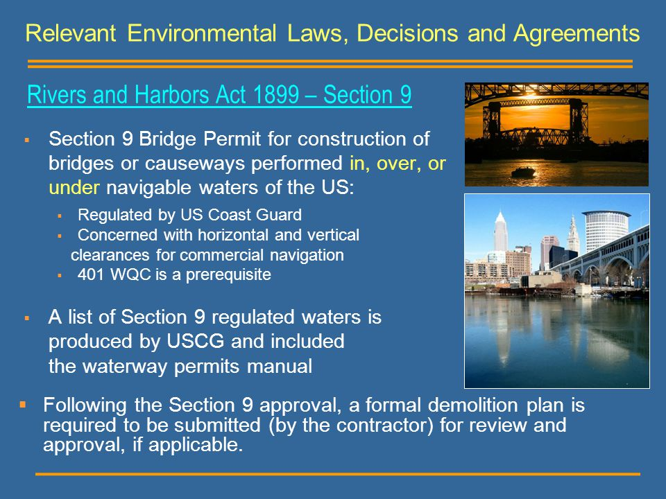 Rivers and Harbors Act 1899 – Section 9