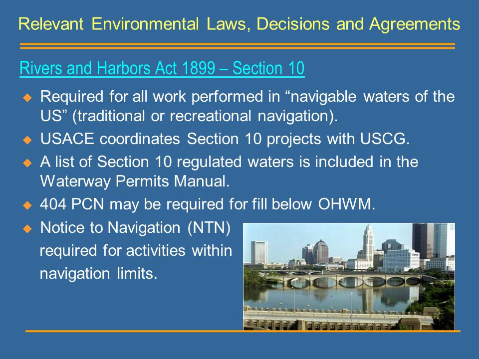 Rivers and Harbors Act 1899 – Section 10