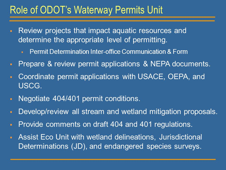 Role of ODOT's Waterway Permits Unit