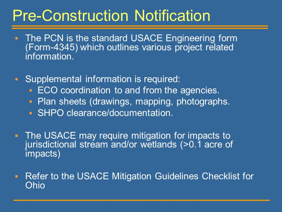Pre-Construction Notification
