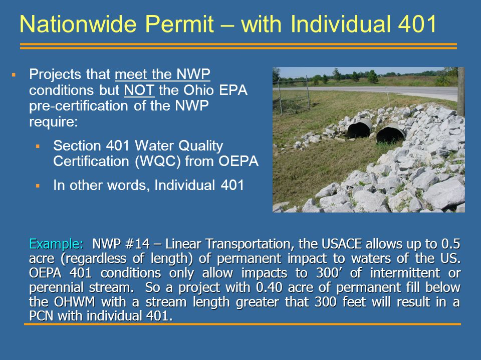 Nationwide Permit – with Individual 401