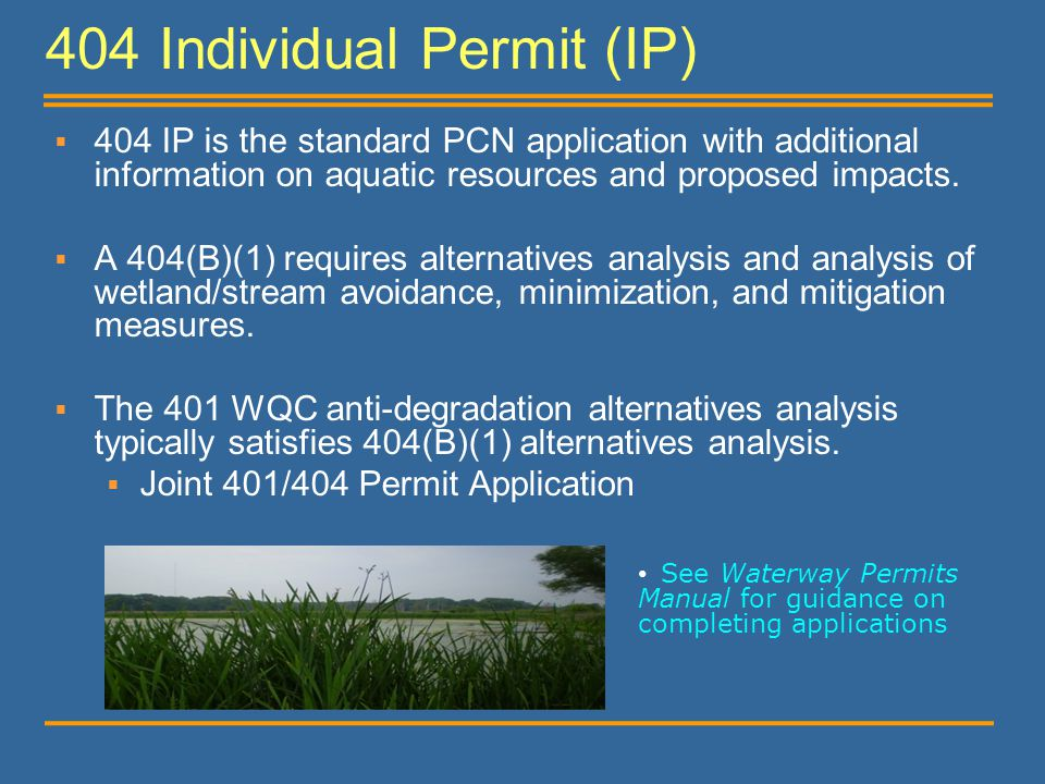 404 Individual Permit (IP)