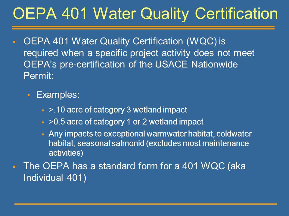 OEPA 401 Water Quality Certification