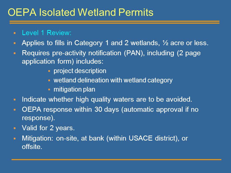 OEPA Isolated Wetland Permits