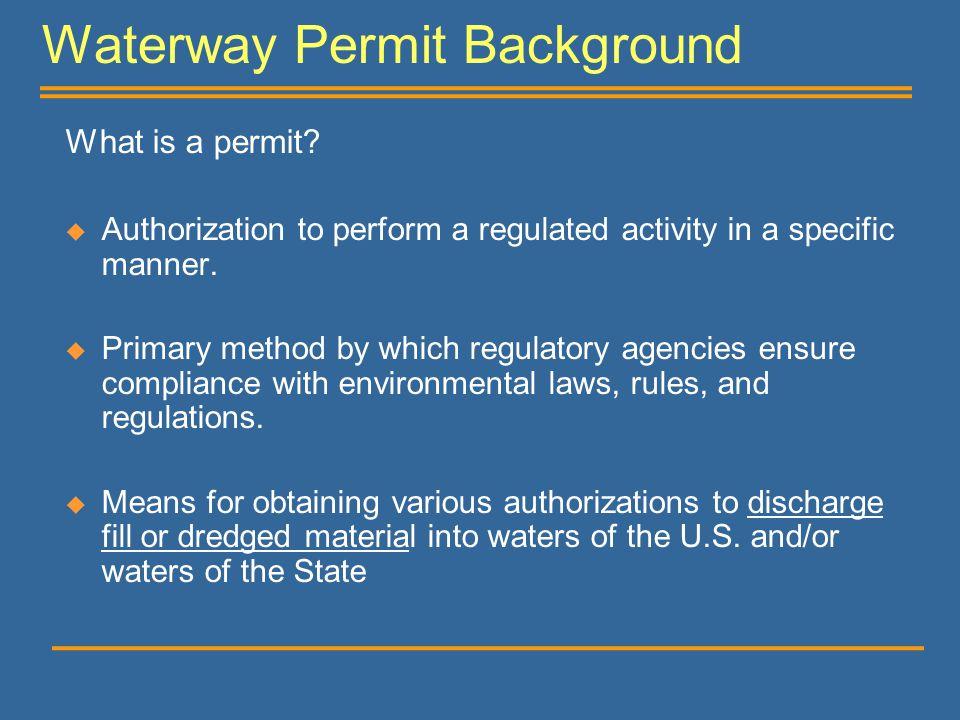 Waterway Permit Background