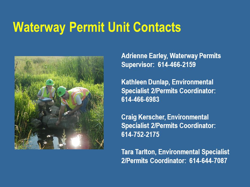 Waterway Permit Unit Contacts
