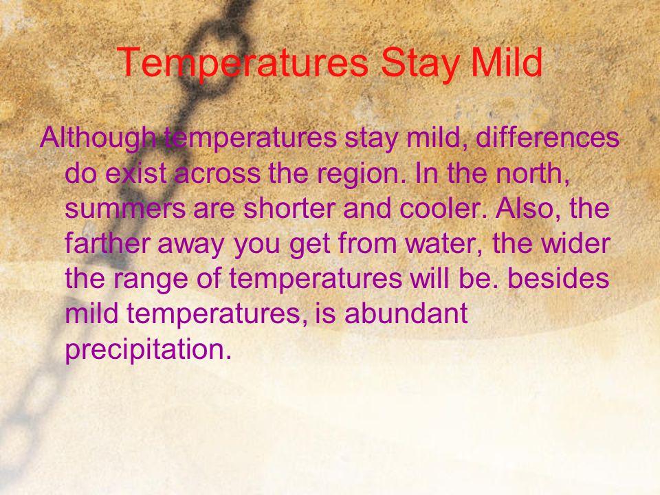 Temperatures Stay Mild