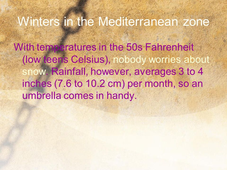 Winters in the Mediterranean zone