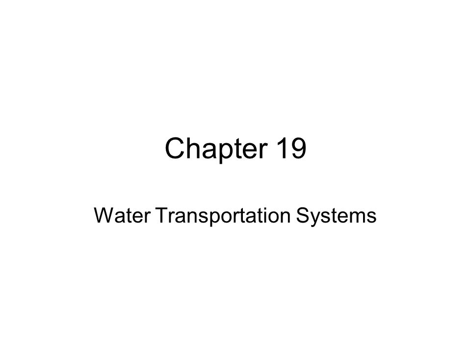 Water Transportation Systems