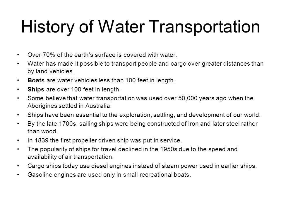 History of Water Transportation