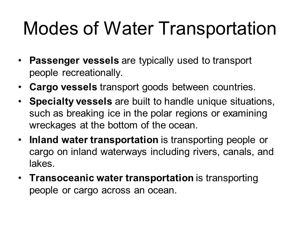 Modes of Water Transportation