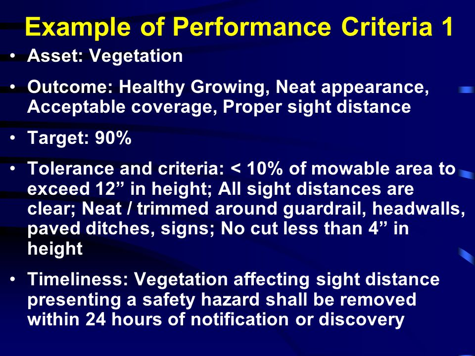 Example of Performance Criteria 1