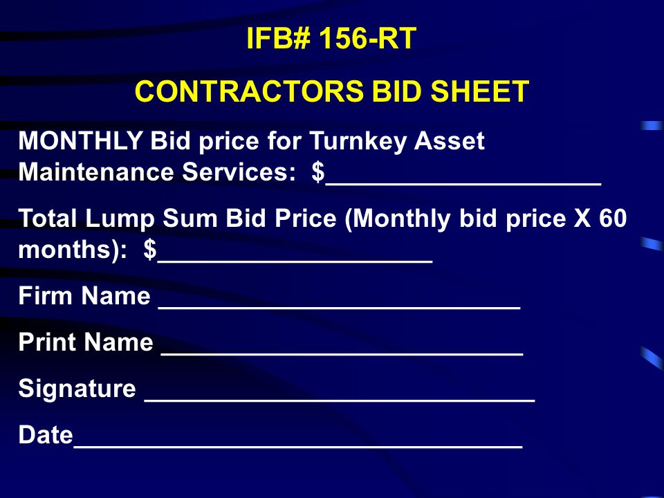 IFB# 156-RT CONTRACTORS BID SHEET