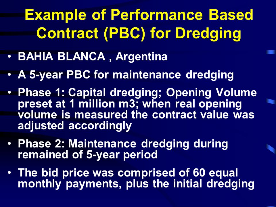Example of Performance Based Contract (PBC) for Dredging