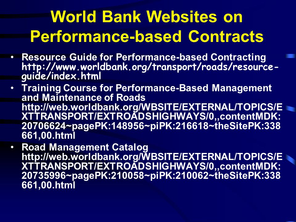 World Bank Websites on Performance-based Contracts