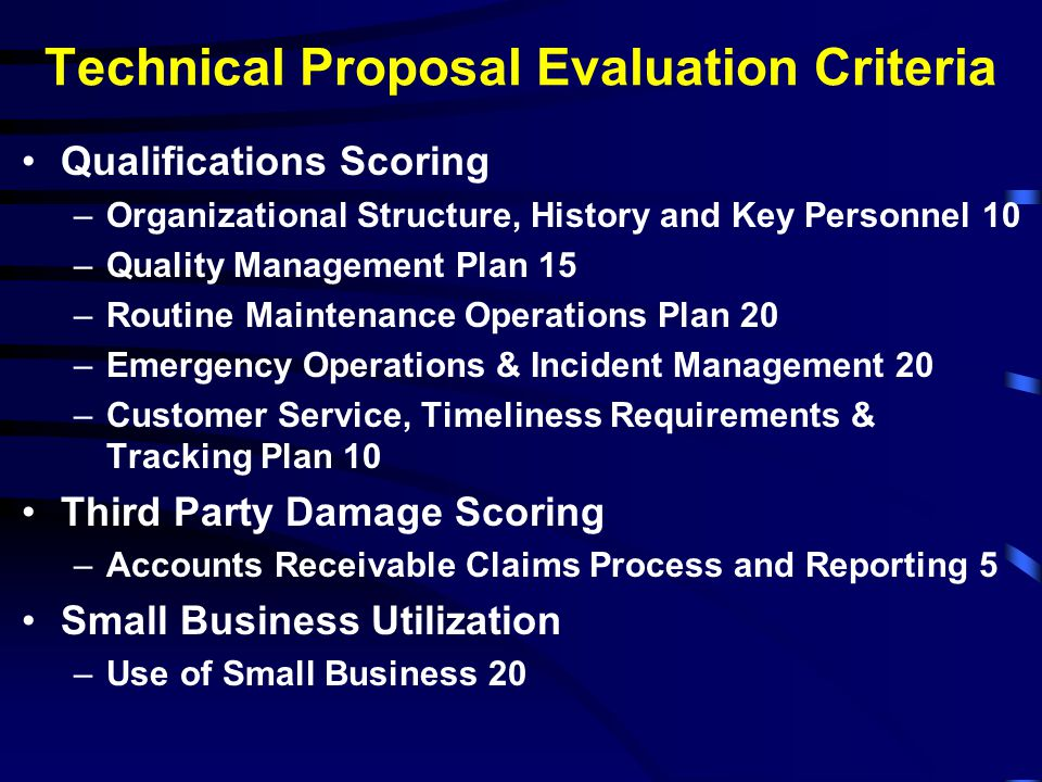 Technical Proposal Evaluation Criteria