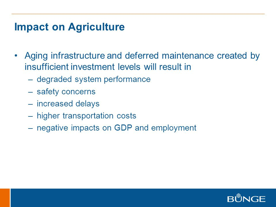 Impact on Agriculture Aging infrastructure and deferred maintenance created by insufficient investment levels will result in.