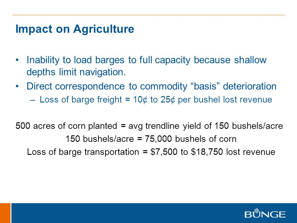 Impact on Agriculture Inability to load barges to full capacity because shallow depths limit navigation.