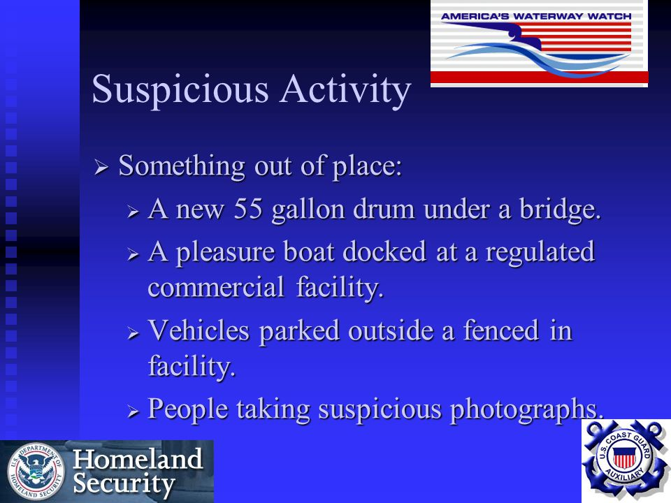 Suspicious Activity Something out of place: