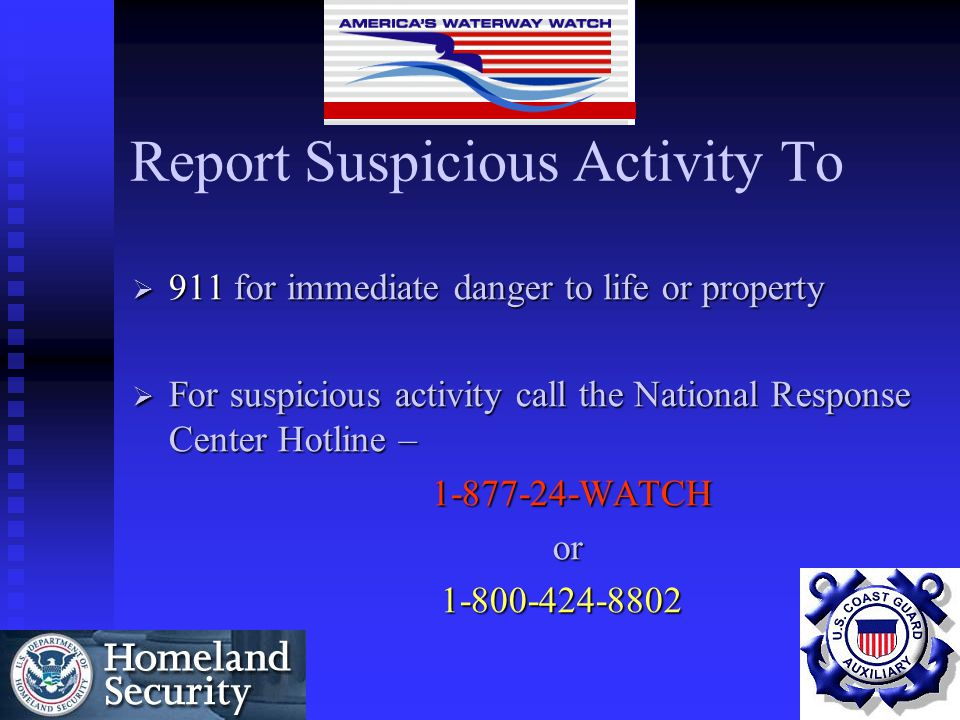 Report Suspicious Activity To