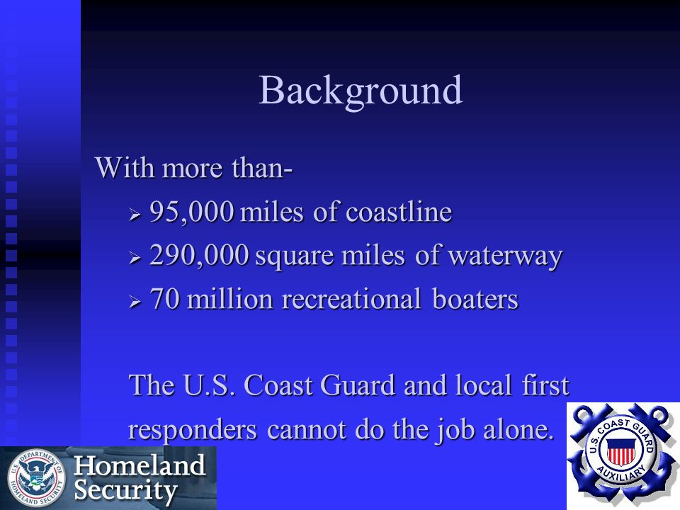 Background With more than- 95,000 miles of coastline