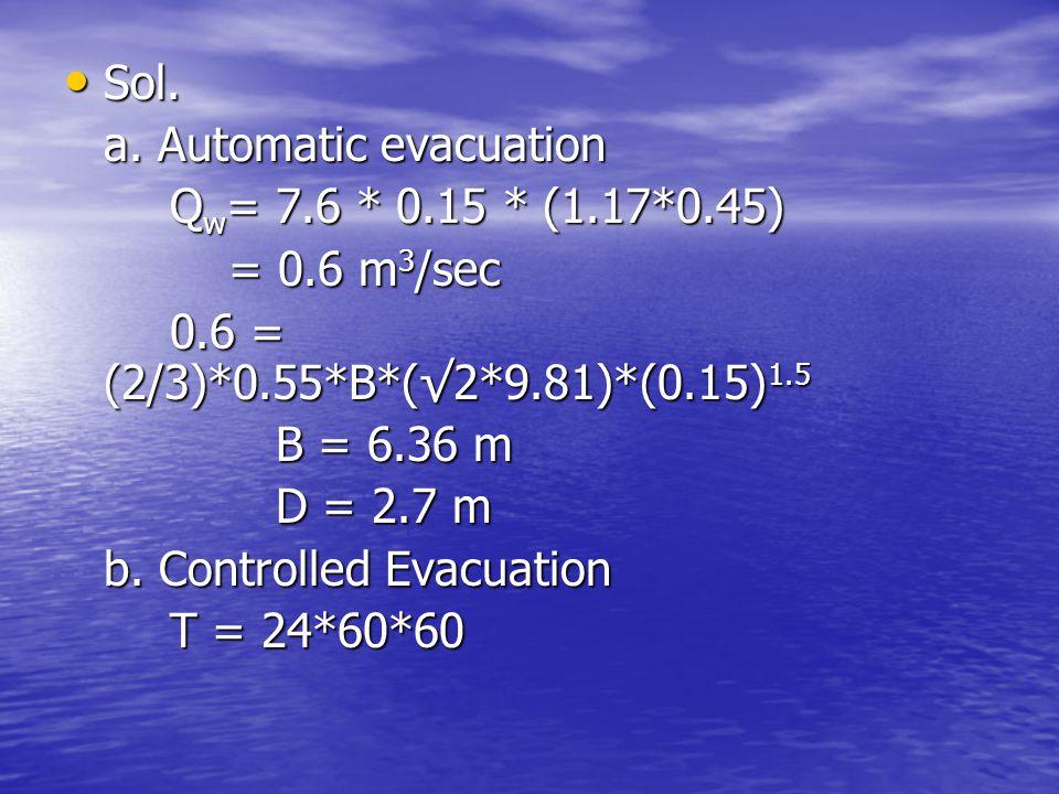 Sol. a. Automatic evacuation. Qw= 7.6 * 0.15 * (1.17*0.45) = 0.6 m3/sec. 0.6 = (2/3)*0.55*B*(√2*9.81)*(0.15)1.5.