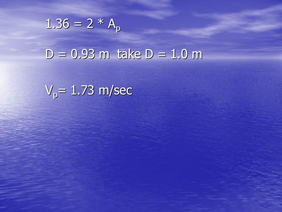 1.36 = 2 * Ap D = 0.93 m take D = 1.0 m Vp= 1.73 m/sec