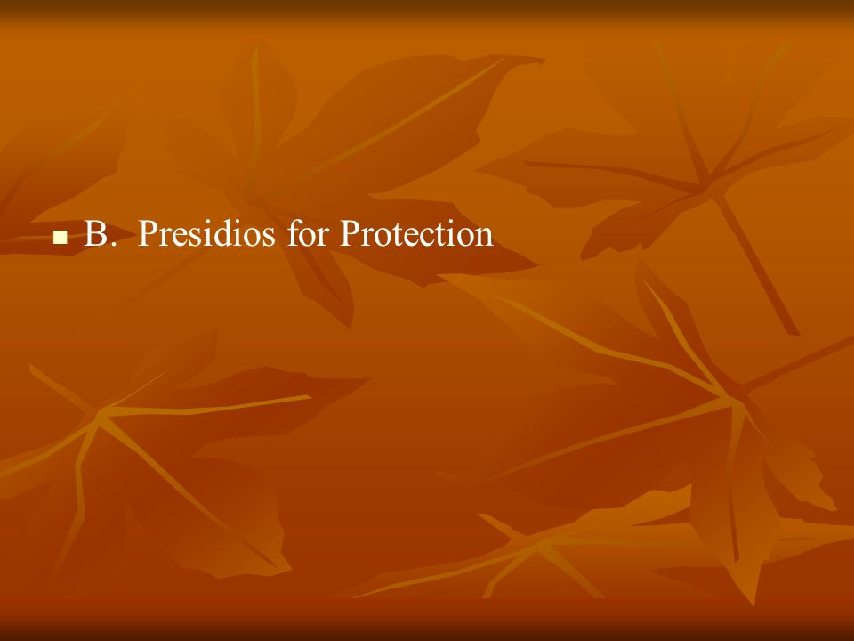 B. Presidios for Protection