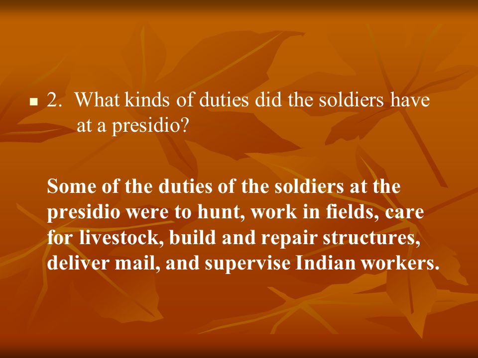 2. What kinds of duties did the soldiers have at a presidio