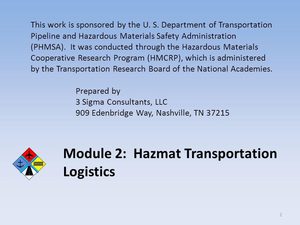 Module 2: Hazmat Transportation Logistics