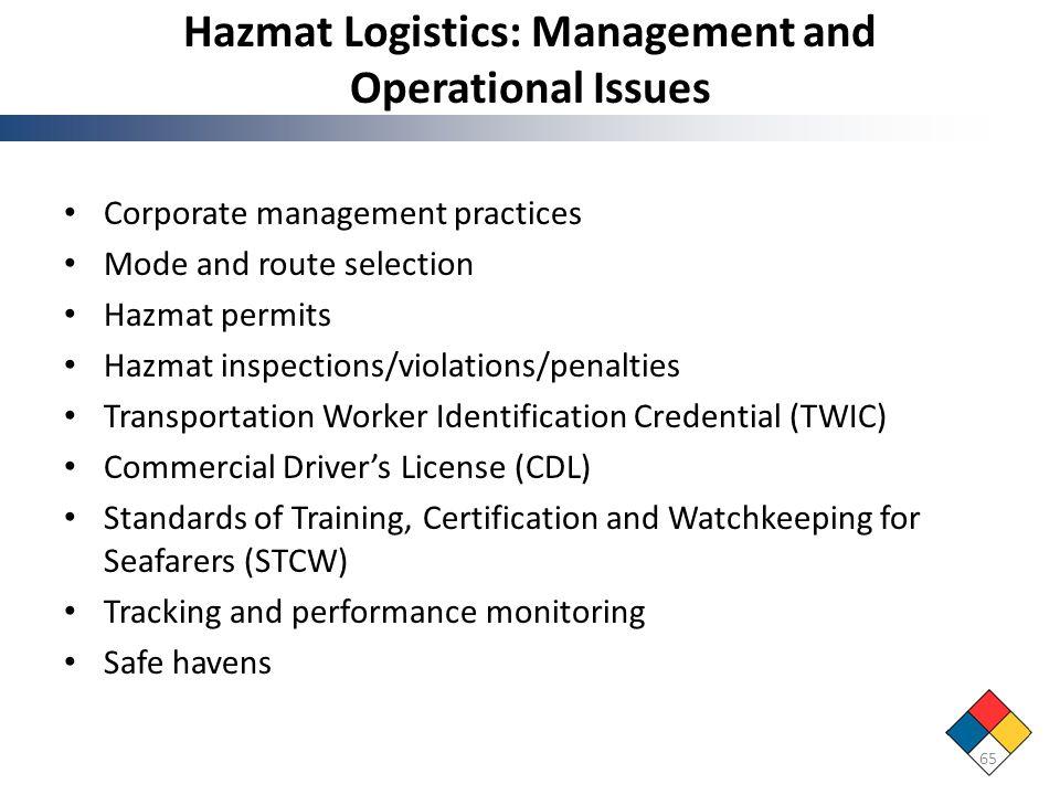 Hazmat Logistics: Management and Operational Issues