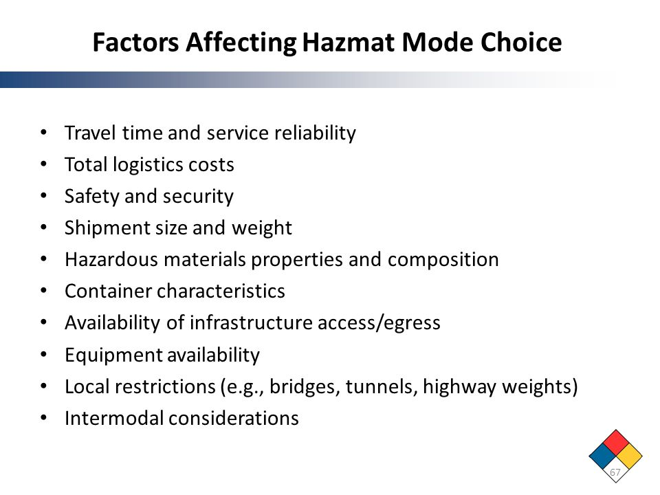 Factors Affecting Hazmat Mode Choice