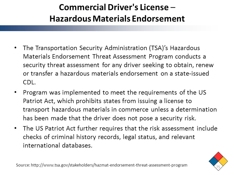 Commercial Driver s License – Hazardous Materials Endorsement