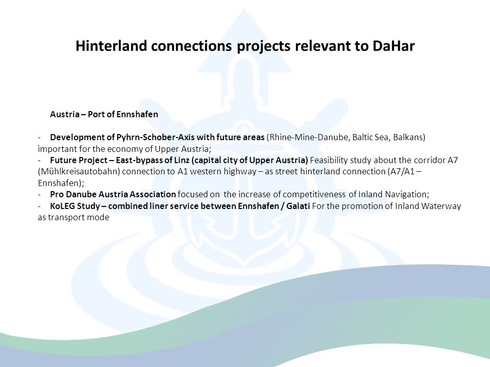 Hinterland connections projects relevant to DaHar