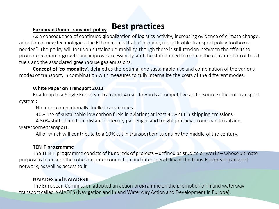 Best practices European Union transport policy
