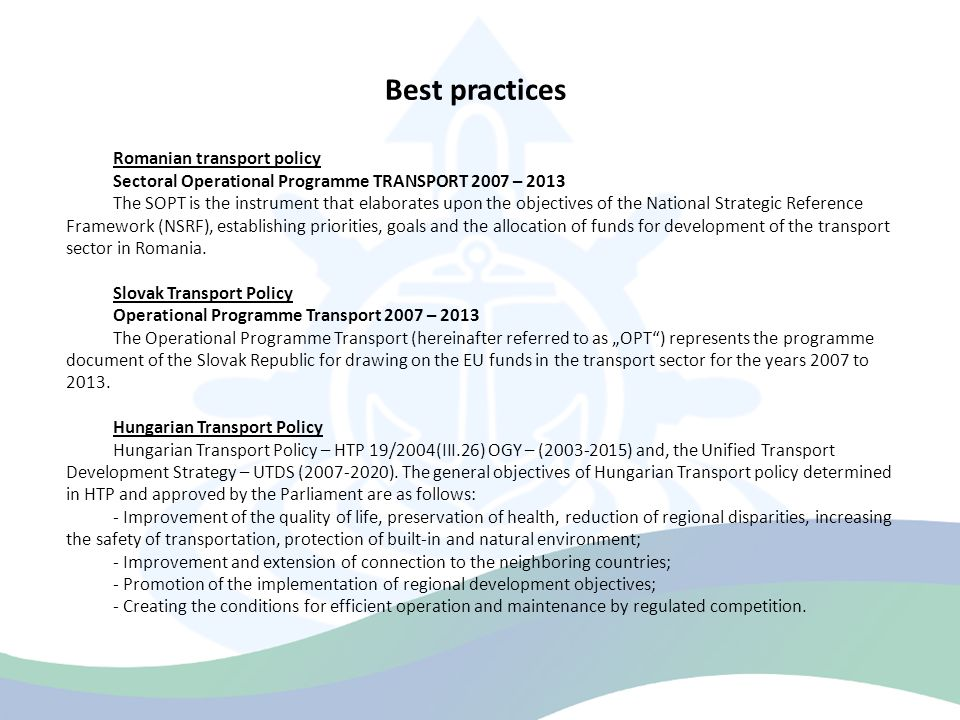 Best practices Romanian transport policy