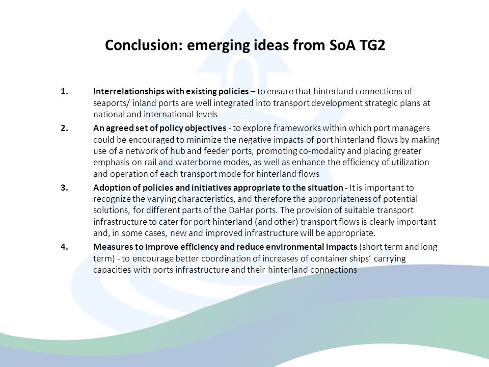 Conclusion: emerging ideas from SoA TG2