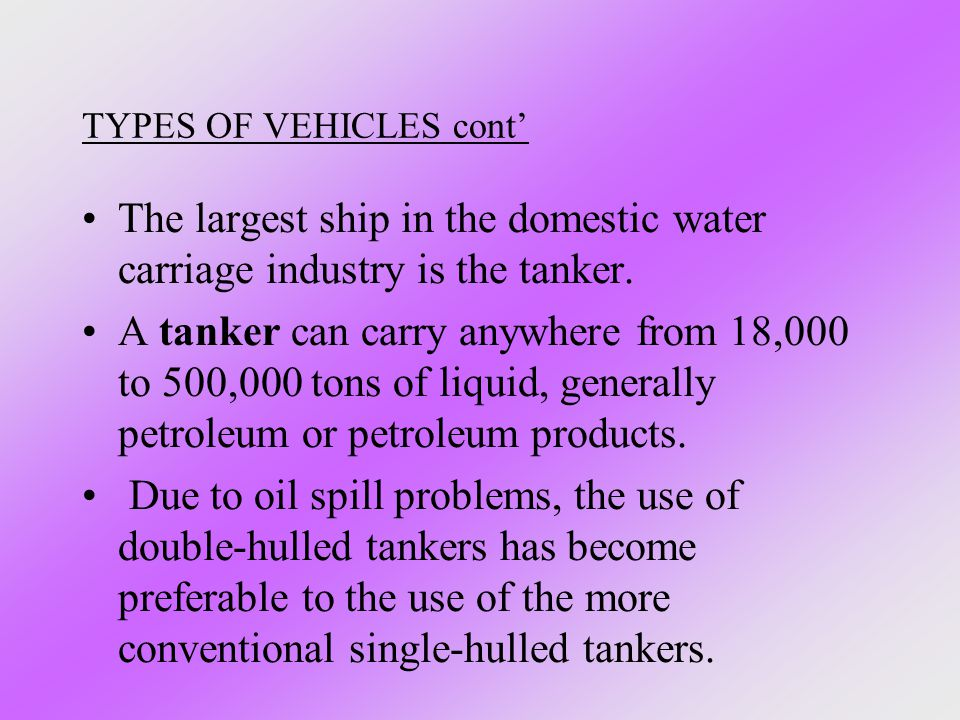 TYPES OF VEHICLES cont'