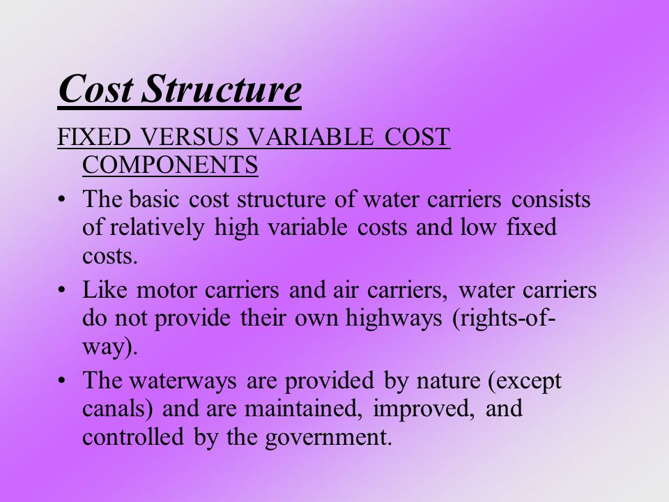 Cost Structure FIXED VERSUS VARIABLE COST COMPONENTS