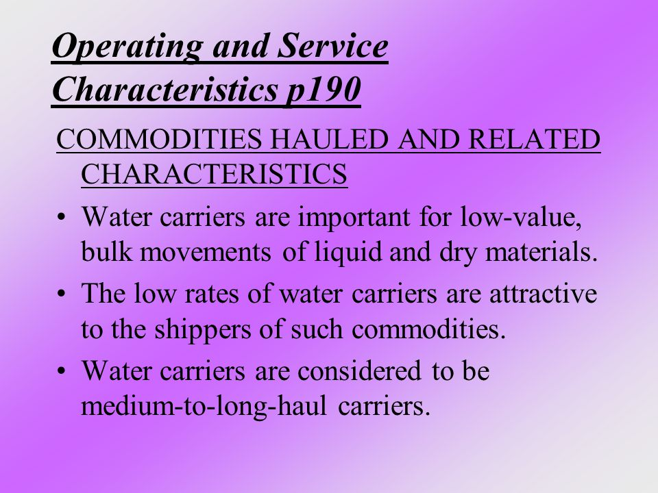 Operating and Service Characteristics p190