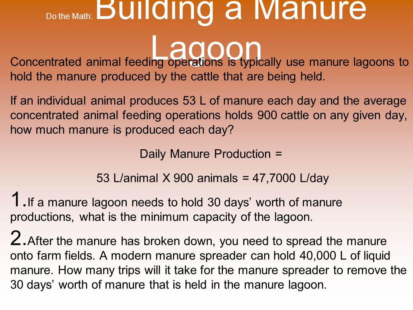 Do the Math: Building a Manure Lagoon