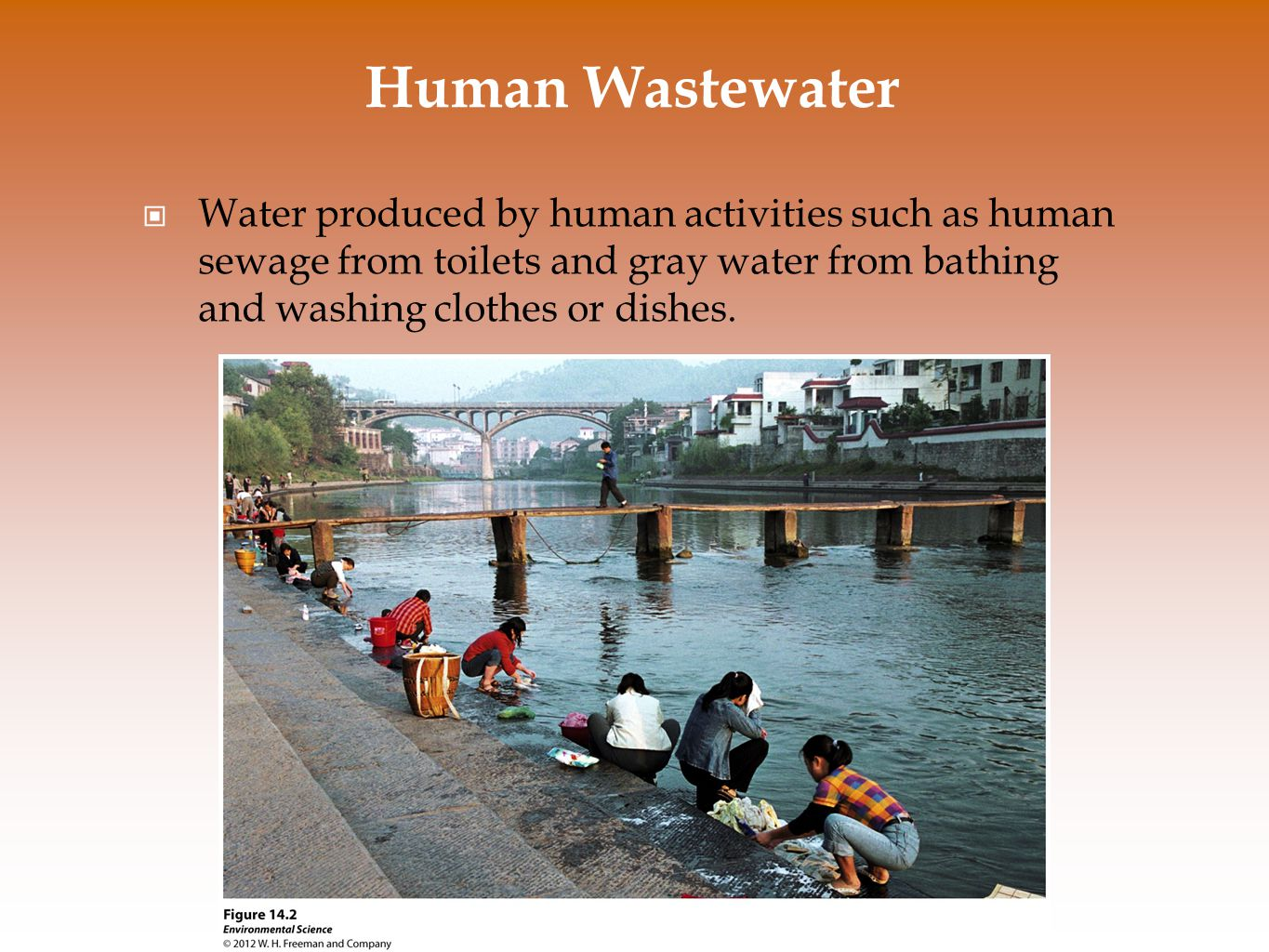 Human Wastewater Water produced by human activities such as human sewage from toilets and gray water from bathing and washing clothes or dishes.