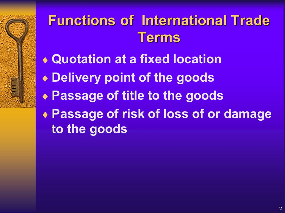 Functions of International Trade Terms