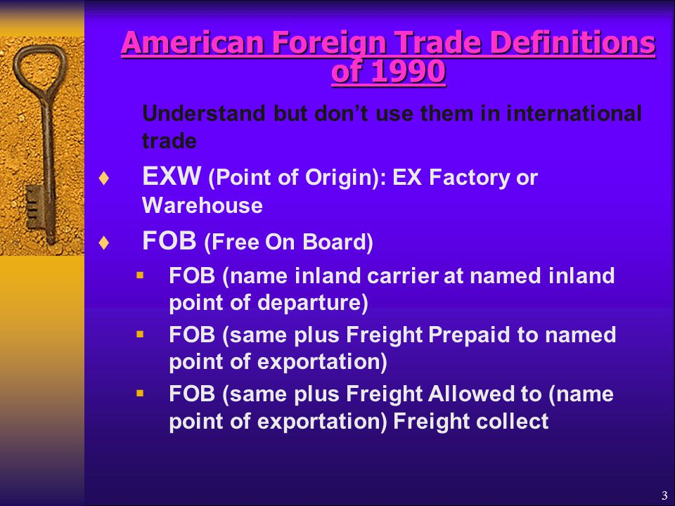 American Foreign Trade Definitions of 1990